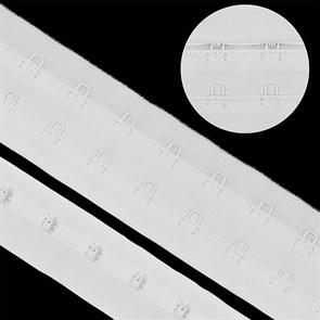 Крючки на ленте 2 ряда на мягкой основе шир.40мм TBY-76178 цв.белый уп. 3м