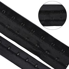 Крючки на ленте 2 ряда на мягкой основе шир.40мм TBY-76179 цв.черный уп. 3м