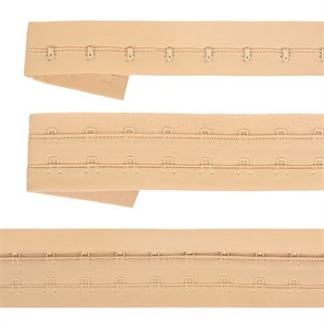Крючки на ленте 2 ряда на мягкой основе шир.40мм TBY-82650 цв.бежевый уп. 3м