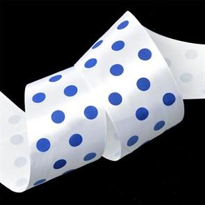 Лента атласная Ideal арт.LDAG02932950 (15) горошек 50мм цв.белый-синий уп.27,4м