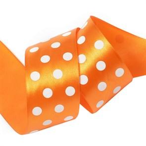 Лента атласная Ideal арт.LDAG66802950 (60) горошек 50мм цв.оранжевый-белый уп.27,4м