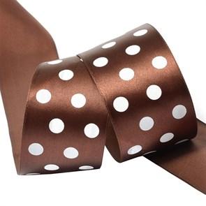 Лента атласная Ideal арт.LDAG86802950 (69) горошек 50мм цв.коричневый-белый уп.27,4м