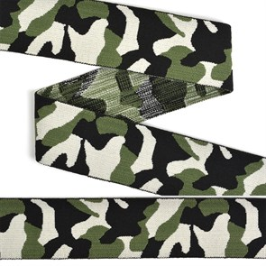 Резинка TBY декоративная мягкая Милитари шир.40мм арт.ET.40T14 уп.5м