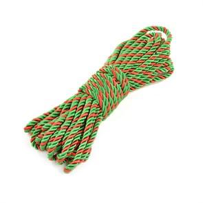 Шнур витой мебельный арт.SHDV312 5мм уп.10м зеленый/красный