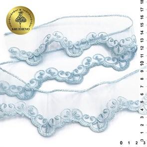 Кружево на жесткой сетке Exclusive арт.TBY 2BS228K1 шир.50мм цв.B1515 голубой уп.13,71м