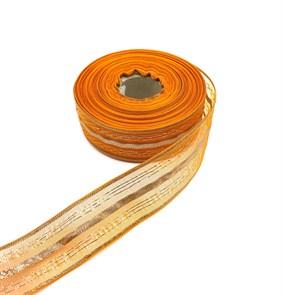 Подарочная лента арт. Р 8216 шир. 25мм цв. оранжевый уп.25м