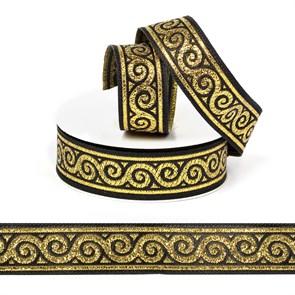 Лента (тесьма) жаккардовая арт.VB.1012212 шир. 22мм цв.черный/золото уп.10 м