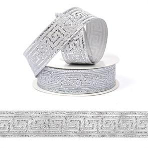 Лента (тесьма) жаккардовая арт.VB.101222 шир. 22мм цв.серебро уп.10 м