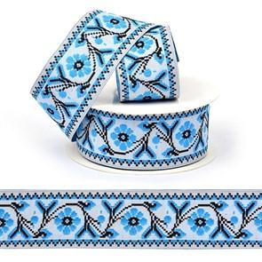 Лента (тесьма) жаккардовая арт.VB.207357 шир. 35мм цв.синий уп.10 м