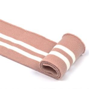 Подвяз трикотажный полиэстер арт.TBY.73006 цв.пыльно-розовый с белыми полосами, 6х80см уп.2шт