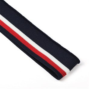 Подвяз трикотажный полиэстер арт.TBY.73019 цв.т.синий с белой и бордовой полосами, 3,5х80см уп.2шт