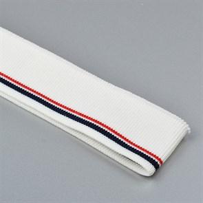 Подвяз трикотажный полиэстер арт.TBY.73020 цв.белый с т.синей и бордовой полосами, 3,5х80см уп.2шт