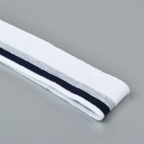 Подвяз трикотажный полиэстер арт.TBY.73021 цв.белый с т.синей и серебряной полосами, 3,5х80см уп.2шт