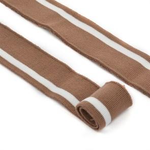 Подвяз трикотажный полиэстер арт.TBY.73068 цв.св.коричневый с белой полосой, 3,5х80см уп.2шт