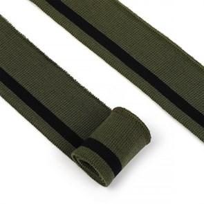 Подвяз трикотажный полиэстер арт.TBY.73077 цв.олива с черной полосой, 3,5х80см уп.2шт
