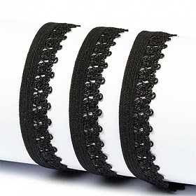 Резинка TBY бельевая (ажурная) 12мм арт.FB01322 цв.F322 (03) черный уп.10м